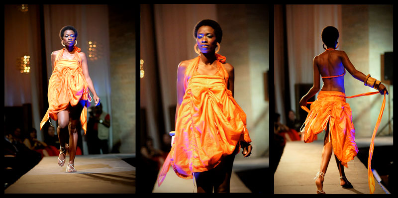 Orange adjustable {quote}Curtain skirt{quote} worn as dress left/middle and Dead Wood accessories.