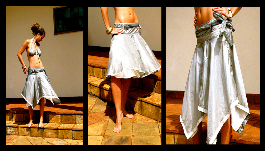 {quote}Short circle-skirt{quote} also available as aquare shape (left/right), 230 $, {quote}Bra{quote} 50 $.