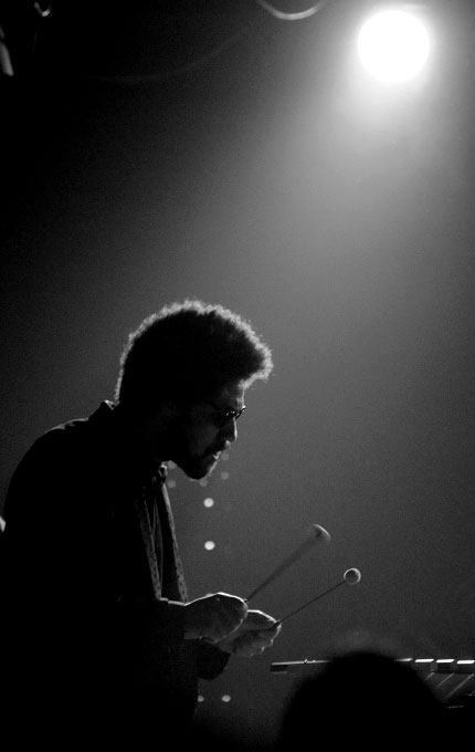 Producer Danger Mouse (Brian Burton) plays the xylophone as Gnarls Barkley performs at the 40 Watt in Athens, Ga.