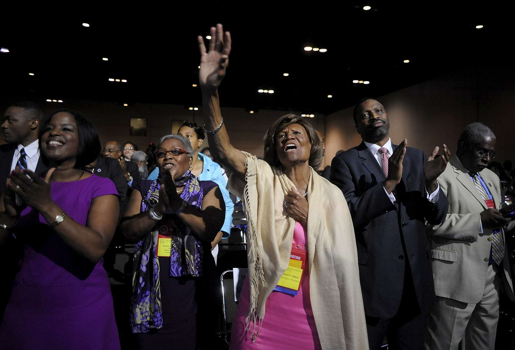 Hazel Dukes, a member of the board of directors of the National Association for the Advancement of Colored People (NAACP), cheers at the end of a speech by NAACP president Benjamin Jealous  to the 2013 NAACP convention in Orlando, Fla., on Monday, July 15, 2013. In the wake of the George Zimmerman murder trial, civil rights leaders, including Jealous, are urging the Justice Department to pursue federal civil rights charges against Zimmerman.