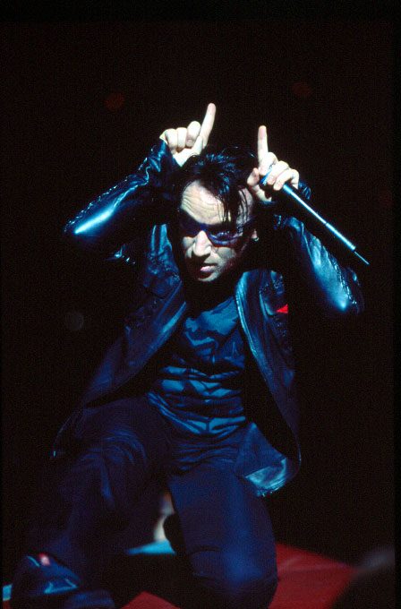 Bono of U2 performs during their {quote}Elevation{quote} tour at the MCI Center in Washington, DC., in August, 2001.