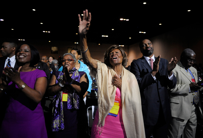 Hazel Dukes, a member of the board of directors of the National Association for the Advancement of Colored People (NAACP), cheers at the end of a speech by NAACP president Benjamin Jealous  to the 2013 NAACP convention in Orlando, Florida July 15, 2013. In the wake of the George Zimmerman murder trial, civil rights leaders, including Jealous, are urging the Justice Department to pursue federal civil rights charges against Zimmerman.