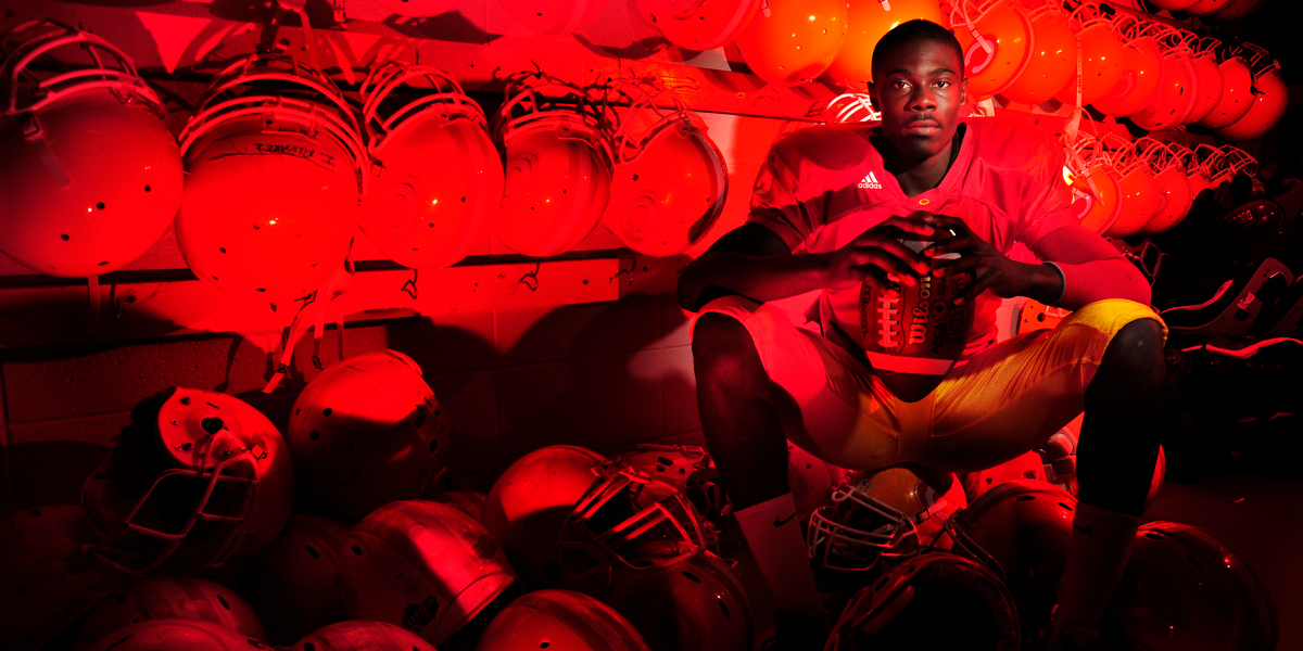 Clarke Central Gladiators quarterback Martay Mattox inside the team's storage room on Tuesday, Dec. 15, 2009 in Athens, Ga.