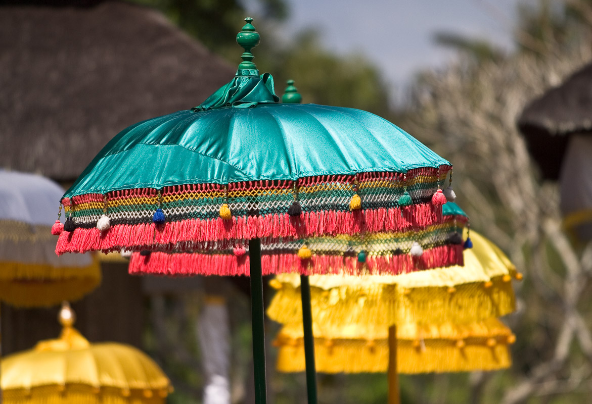 Colorful umbrellas in a procession near Ubud, Bali. Photo by Jay Graham