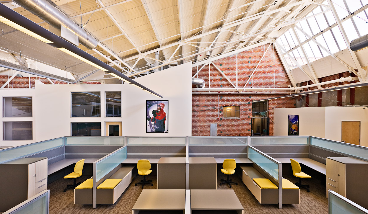 The remodeled interior of the old Ford Motor Company Plant in Richmond California. A major LEED certifide remodel. Interior furniture by Teknion. Photo by Jay Graham