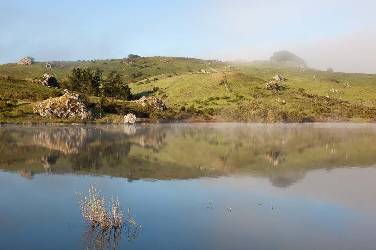 Lake Nicasio at about 6:30 in the morning on April 16th. Early morning fog burning off the lake. Photo by Jay Graham