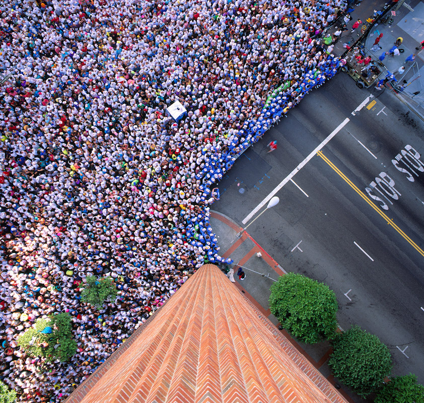The starting line of the Bay to Breakers run in San Francisco, CA as seen from five stories up. Bird's eye view. Photo by Jay Graham