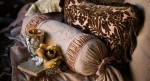 Detail of Bella Notte pillows and fabrics. Photo by Jay Graham