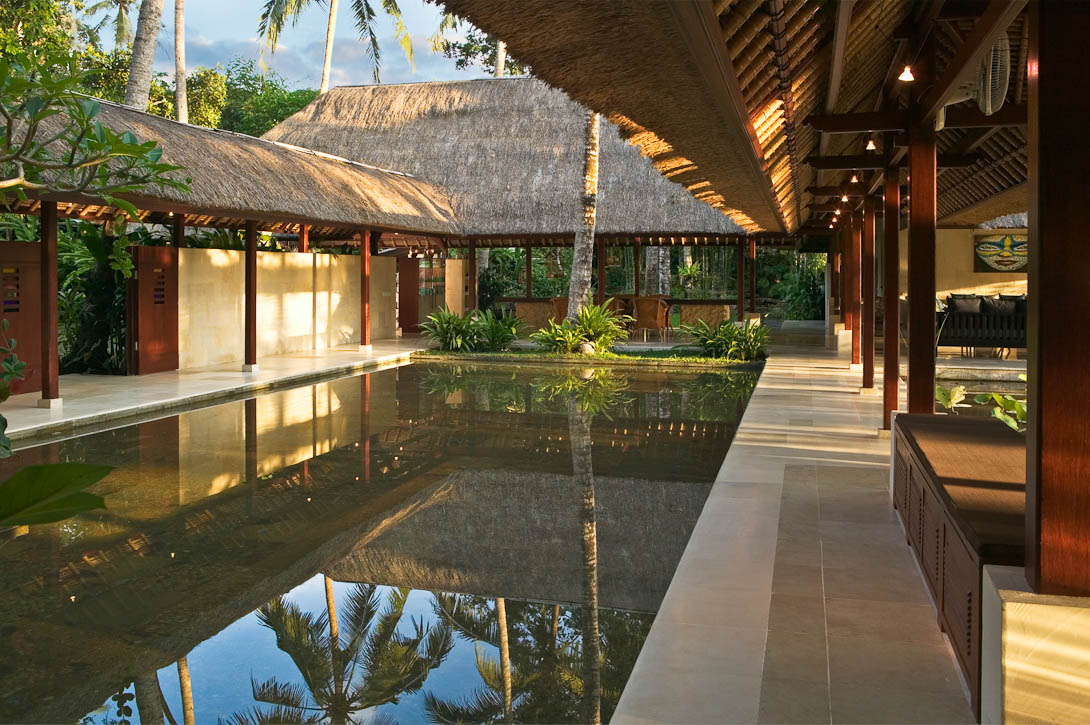 Villa Pantulan Bali is an outstanding villa close to the town of Ubud, the cultural capital of Bali. Offering services to match any luxury hotel experience, it includes five bedrooms, private gardens, a staff of twelve, including cooks, housekeepers, gardeners and security, making this the premier destination in Ubud for 5-star luxury living.Photo by Jay Graham for Gathering Places - Balinese Architecture - A Spiritual and Spatial Orientation written by Barbara Walker