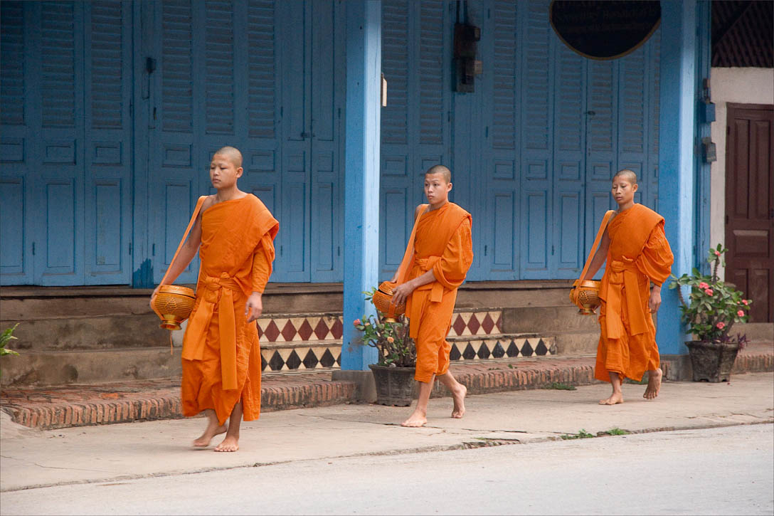 Three young novice monks performing Tak Bat (the daily alms collection ritual). Photo by Jay Graham