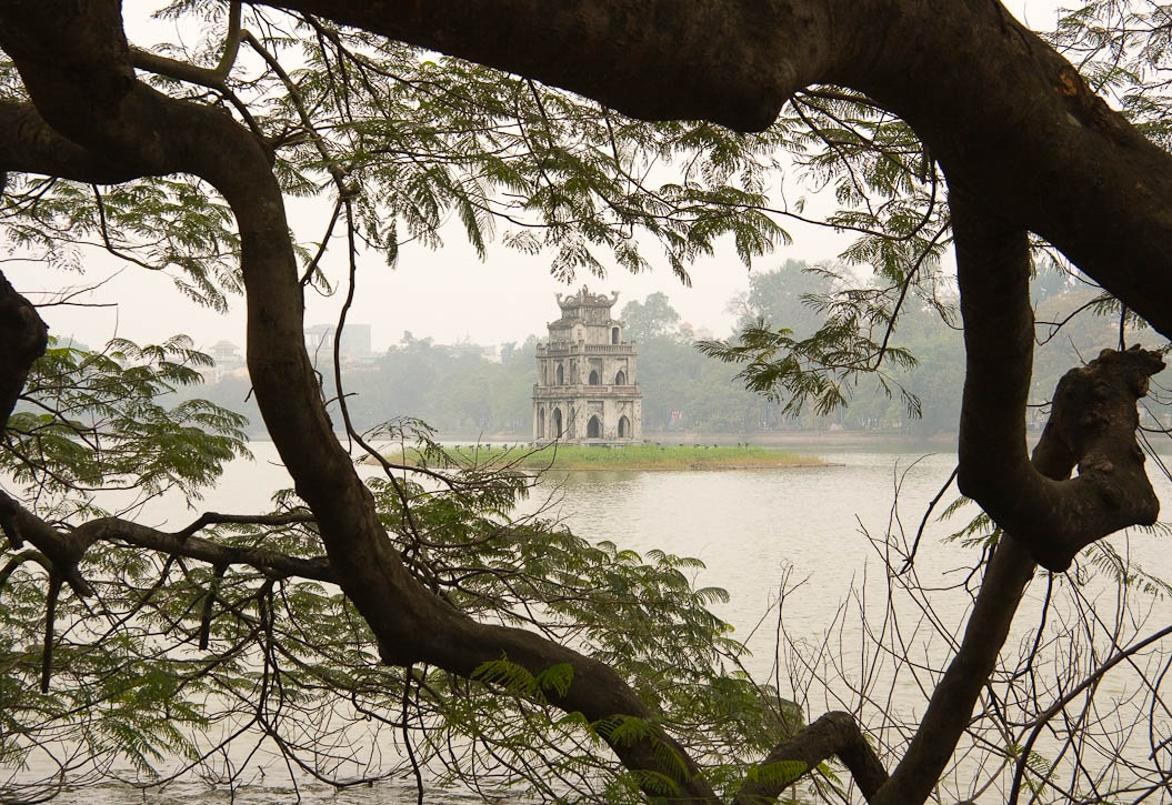 Pagoda on an island in the middle of a lake in downtown Hanoi. Photo by Jay Graham