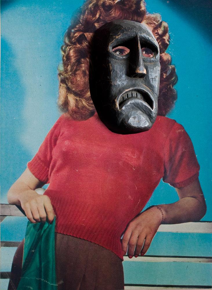 Sonya Henie wearing Guatemalan Mask
