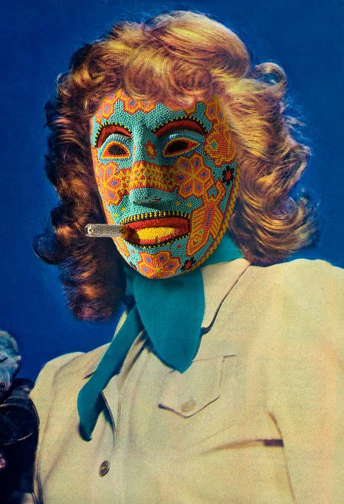 Lucille Ball wearing Huichol Dance Mask