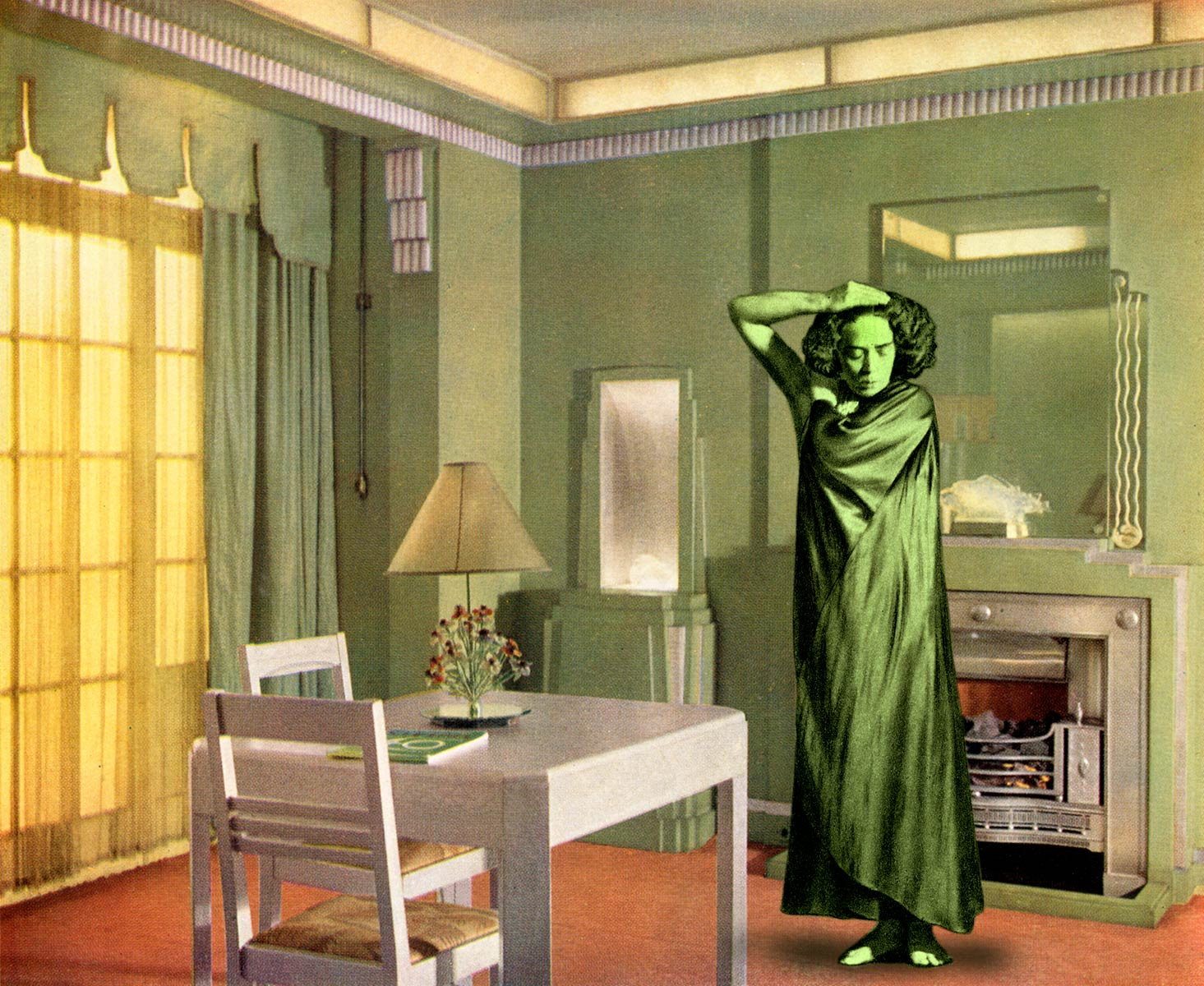 Green is a complex colour. Mary Wigman strikes a pensive pose in a deco dining room carried out in apple green and silver. A sense of space has been created by placing an engraved mirror above the silver painted fireplace. This room was designed by General Electric Company to show off various kinds of lighting, direct and indirect. (2014)