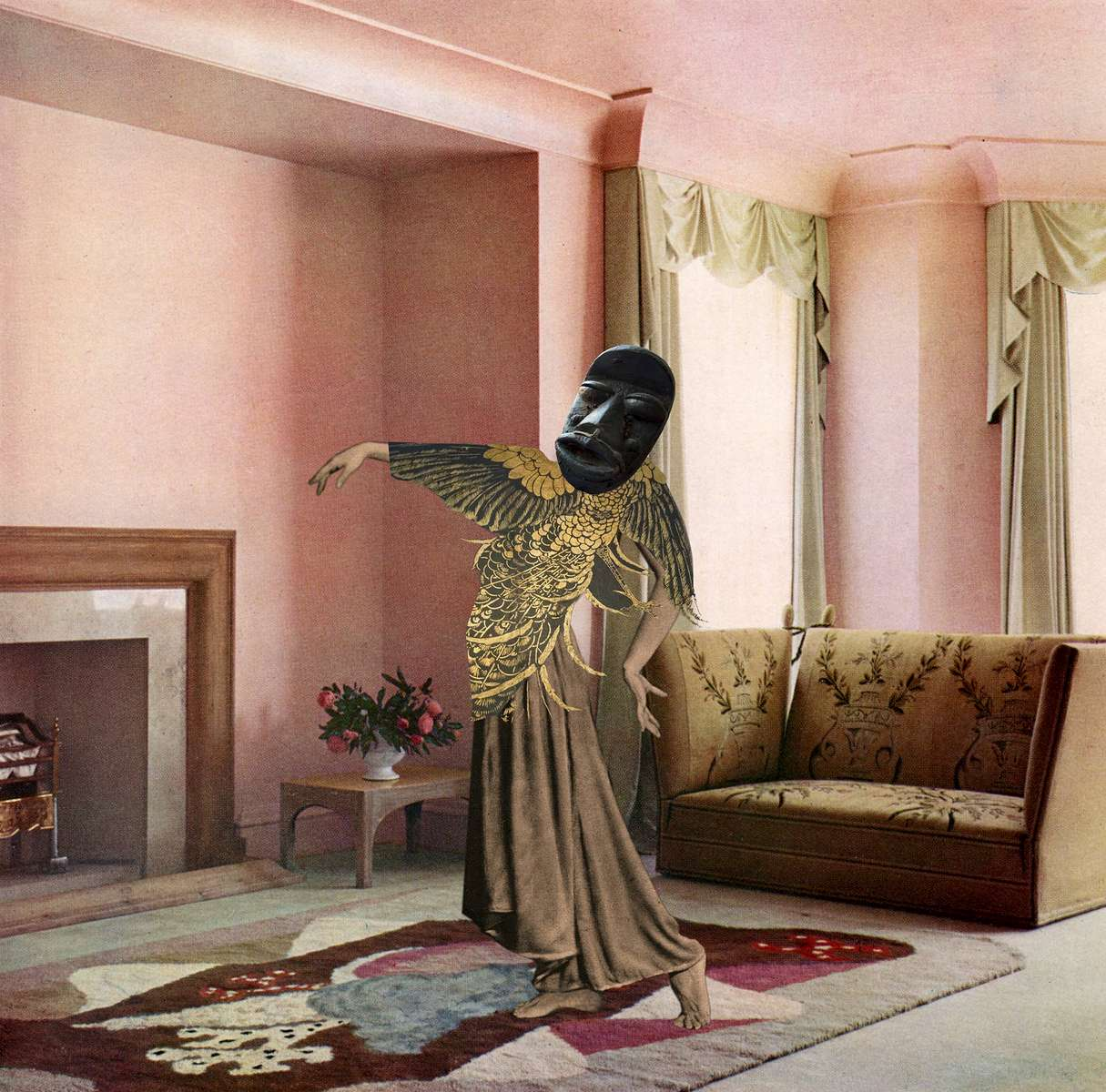 Mary Wigman strikes a pose wearing a peacock Inspired frock and African mask in a lovely pink drawing room designed by John Hill for Messrs Green & Abbott, Ltd. Rose, grey, cream, ginger colour scheme predominate. The peacock top is an element taken from the James Abbott McNeill Whistler Peacock Room, at the Freer Gallery of Art, Washington, D.C. (2014)