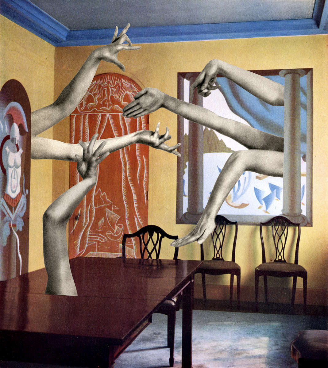 Mary Wigman arms gracefully intrude into a John Armstrong dining room, decorated with panels depicting scenes from ancient Rome. Sky blue, burnt sienna and golden yellow colors create a pleasant illusion of space. (2014)