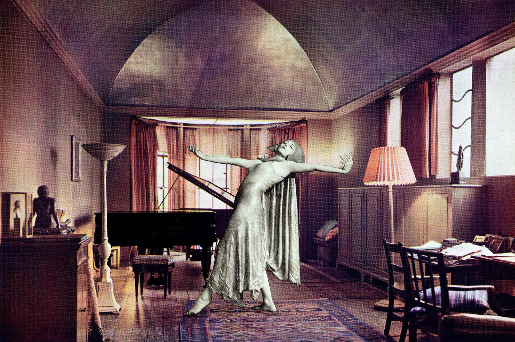 Mary Wigman dances in a music room designed by Oliver Hill. The walls and ceiling are papered in gold leaf and varnished. The space is an interesting study in tones of beige, brown, and gold. The curved ceiling is designed for sound.