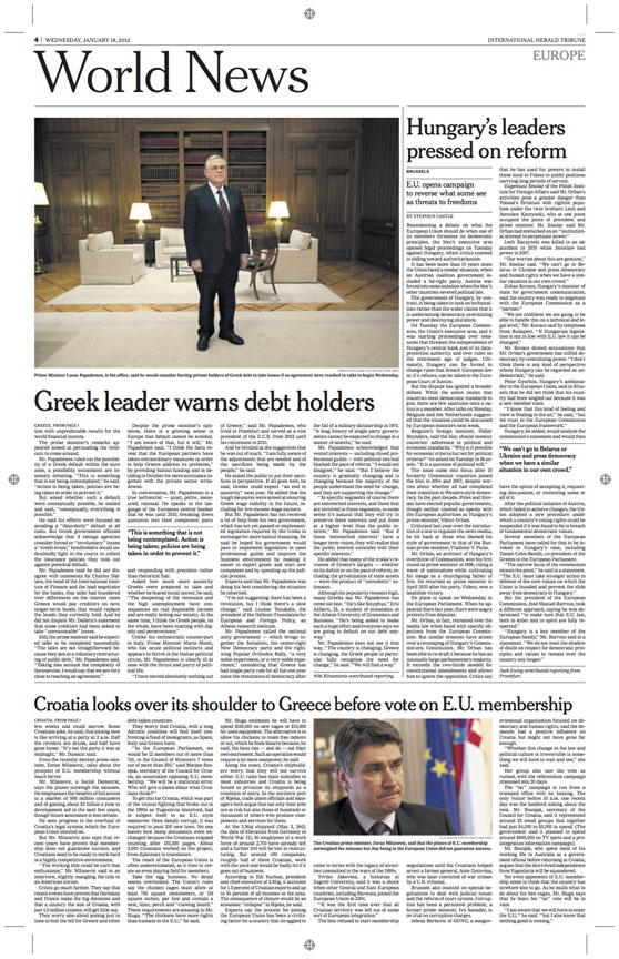 January 18th, 2012Greek leader warns debt holdersAthens,Greece