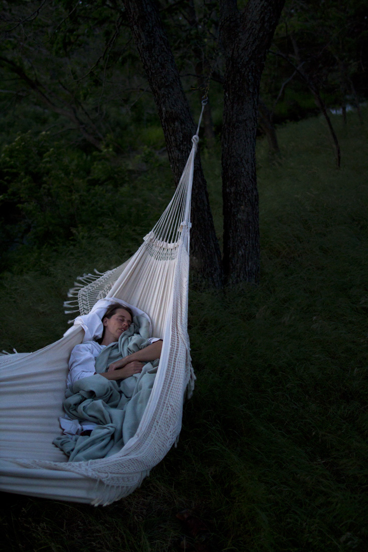 Carole Brown will sleep in the open air near her cabin in the Flint Hills of Matfield Green, KS.