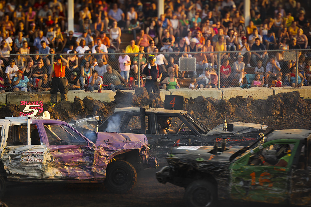 Demolition Derby ath the Platte County Fair.