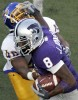 James Johnson of Kansas State runs through Demetrius Jones of San Jose State.