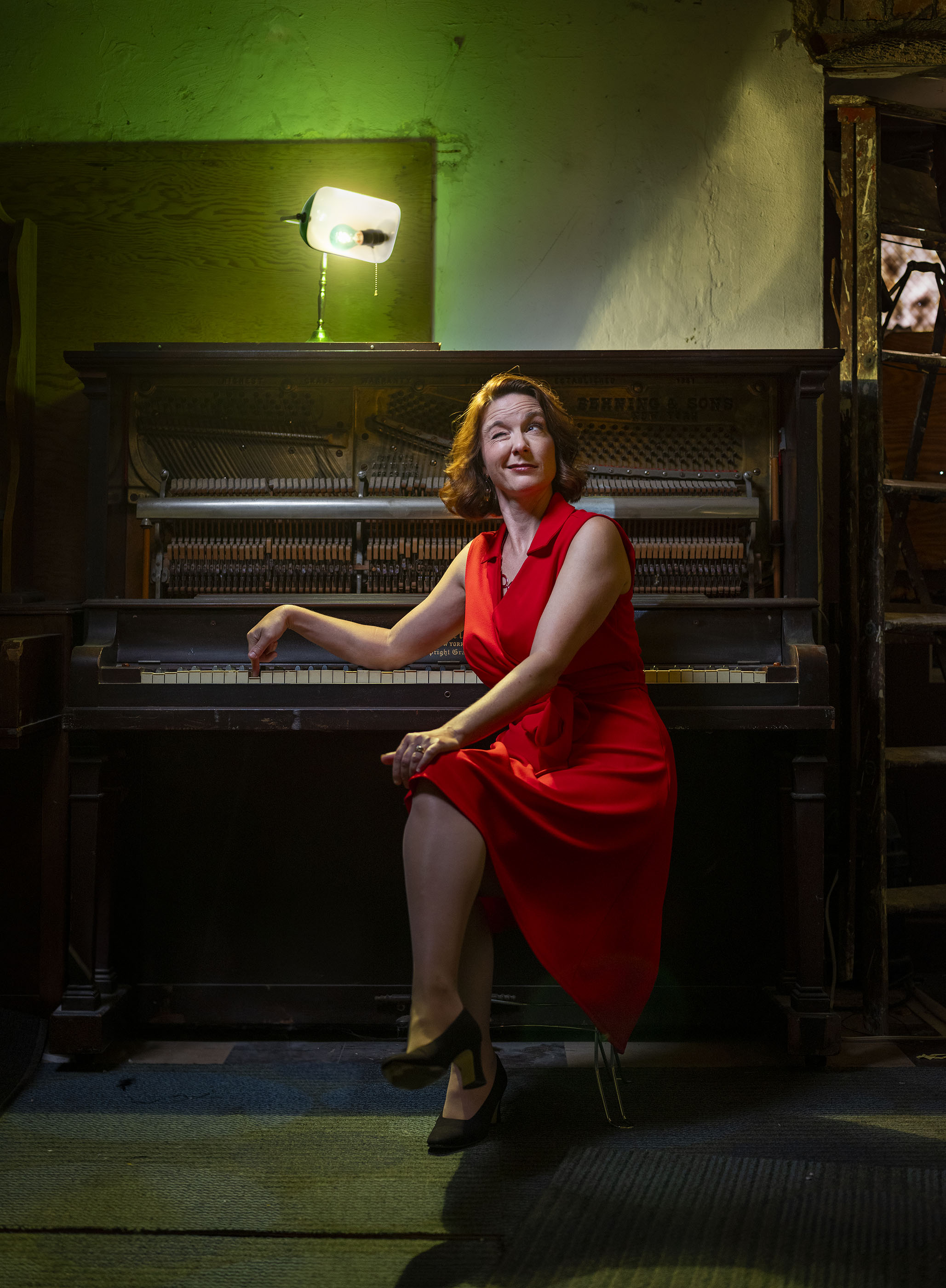 Singer, actress and mom, Krista Eyler inside the Arts Asylum.
