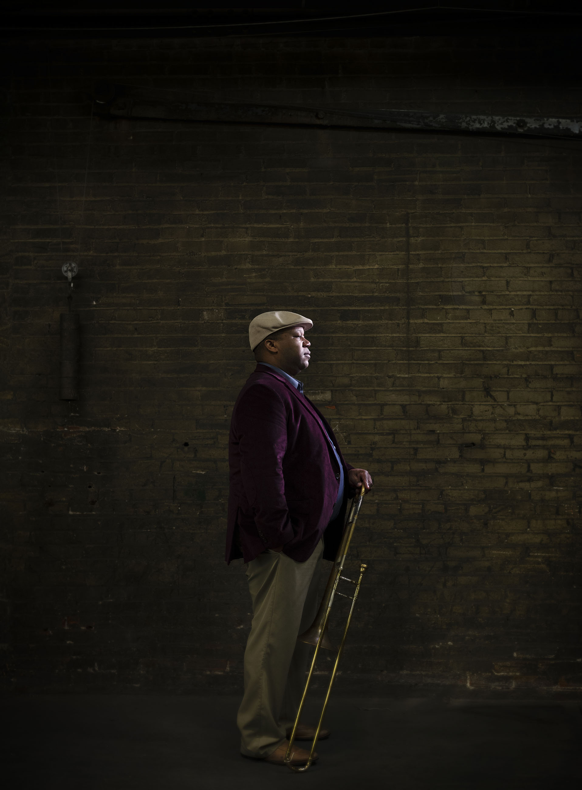 Portrait of jazz musician Marcus Lewis shot inside of Bac Horn Doctor in downtown Kansas City.