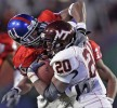Chris Harris of Kansas tackles Kenny Lewis Jr. of Virginia Tech in the 2008 Orange Bowl.
