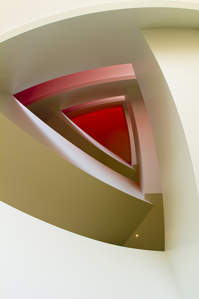 Photo of the staircase inside the Brandmeyer Great Hall at the Kauffman Center for Performing Arts.