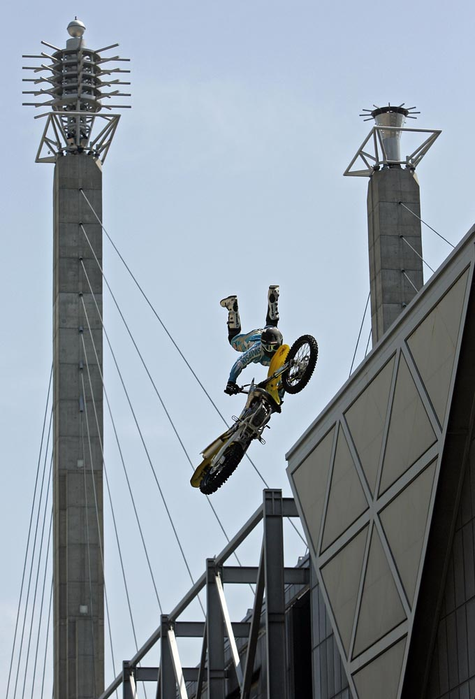 Jason Rowe of Chicago performed a motorcycle stunt in the Flat Out freestyle show in downtown Kansas City.
