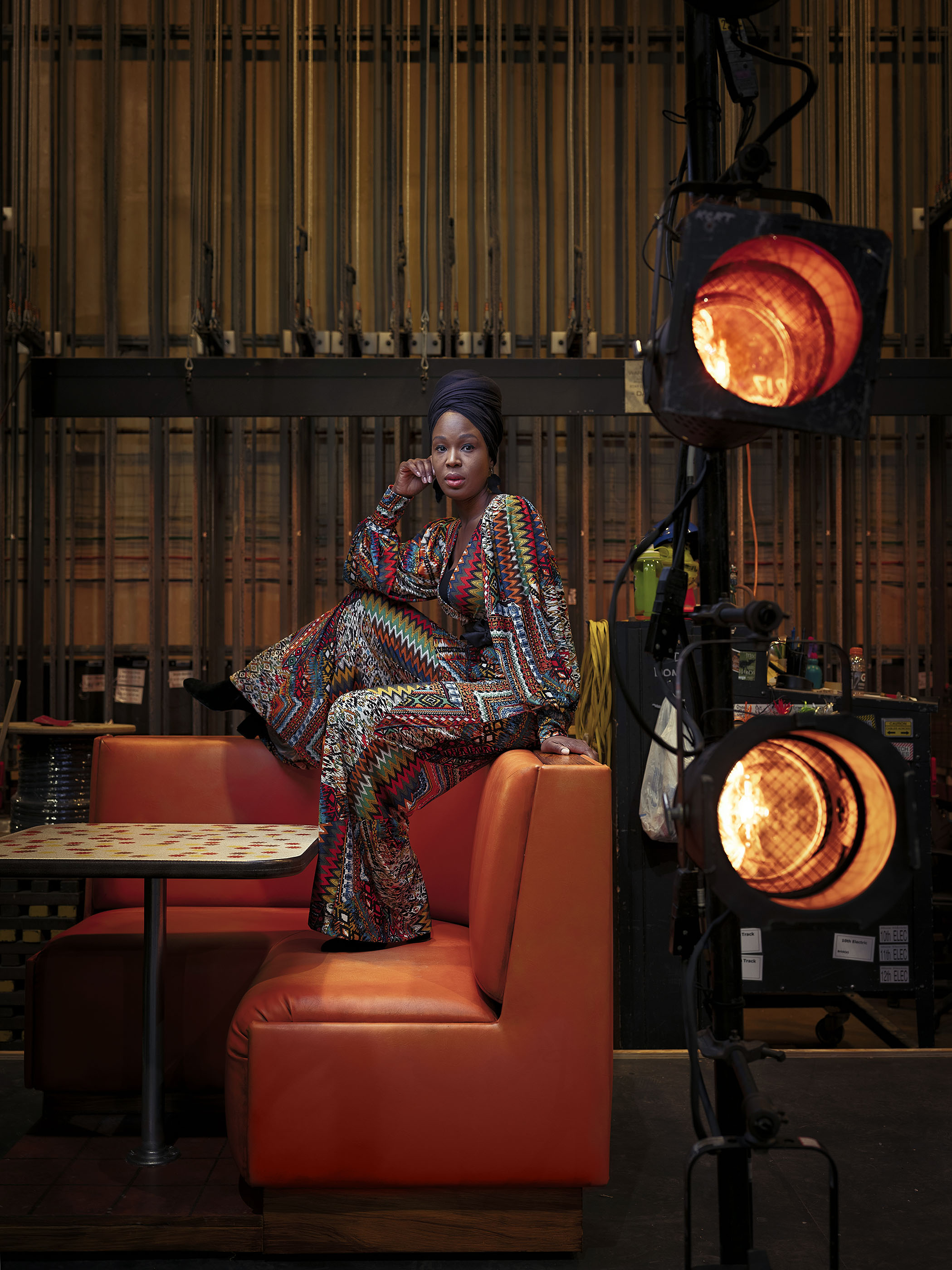 Portrait of actress and director Yetunde Felix-Ukwu, inside the Kansas City Repertory Theatre.