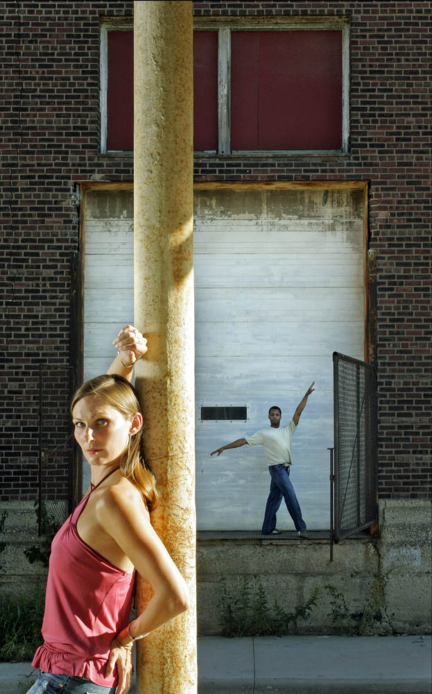 Portrait Kimberly Cowen (left) and Christopher Barksdale (right) of the Kansas City Ballet in front of their future new home next to Union Station.