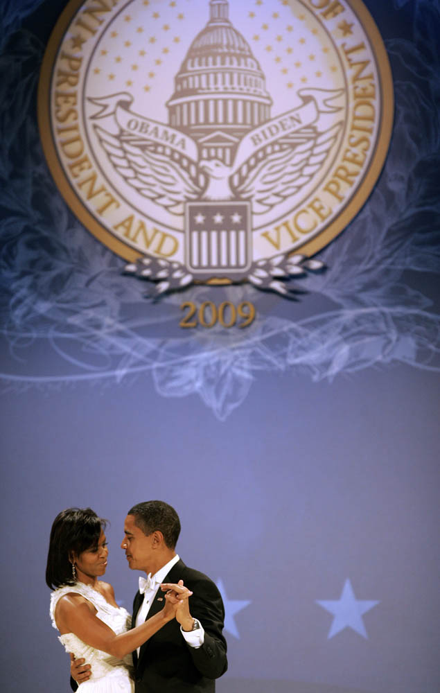 President Barack Obama and first lady Michelle Obama share a dance at the The Midwestern Ball during his inauguration.