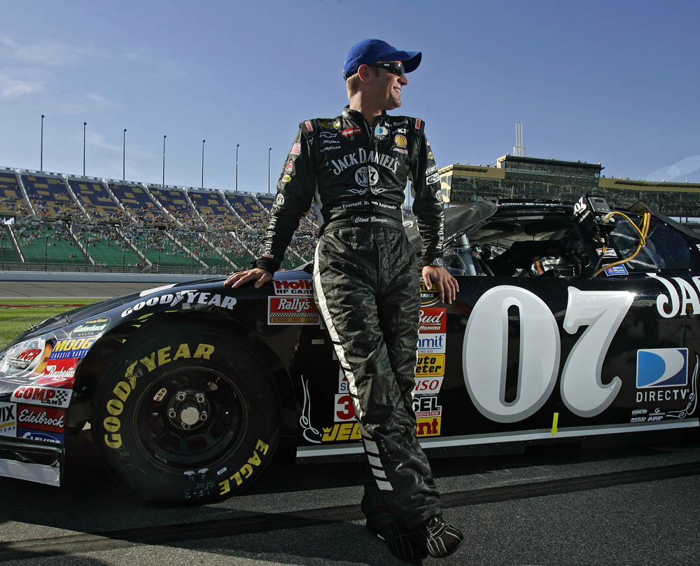 Portrait of Nascar driver Clint Bowyer at the Kansas Speedway.