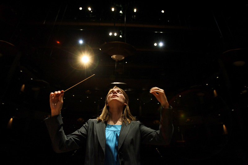 Director of Choral Studies at the University of Denver's Lamont School of Music, Catherine Sailer conducts a rehearsal with the Lamont Women's Choir at the Newman Center on the campus of the University of Denver in Denver, Colo.  Photo by Matt McClain