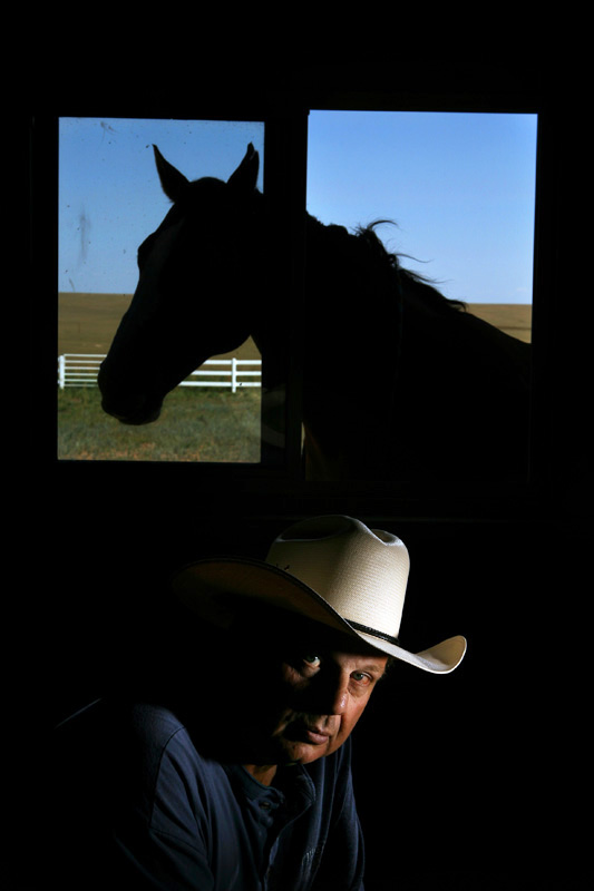 Posing for a portrait on his Cheyenne, Wyo. ranch, Tracy Ringolsby is a Baseball Hall of Fame sports writer.  Photo by Matt McClain