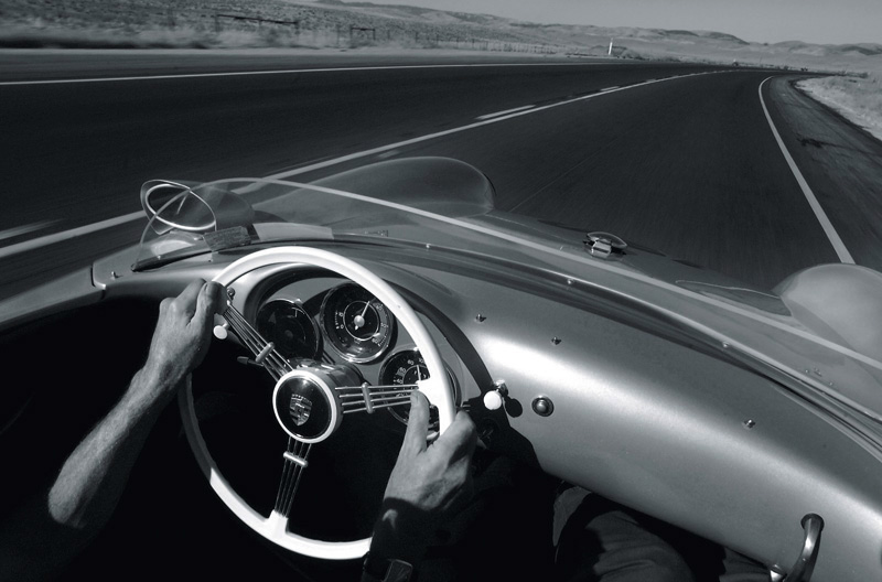 Following the same path James Dean did on the last day of the life, Vic Bent of New York state cruises in his replica 1955 Porsche Spyder drives on the Highway 46 while staying in the area for the 50th anniversary of Dean's death on September 30th.  Photo by Matt McClain