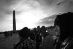 Molly Fay of Colorado's Mullen High stands near the Washington Monument prior to the swearing in ceremony during Barack Obama's inauguration as the 44th President of the United States in Washington, DC.  Photo by Matt McClain