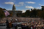 Presidential candidate, Barack Obama addresses a crowd of over 100,000 people  at Civic Center Park in downtown Denver, Colo.  Photo by Matt McClain