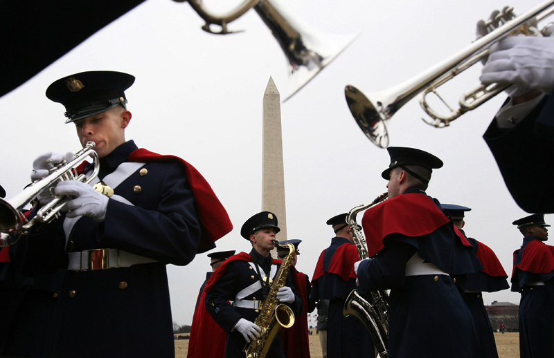Members of the Virginia Tech marching band rehearse near the Washington Monument in Washington, D.C. prior to the Presidential inauguration of Barack Obama.  Photo by Matt McClain