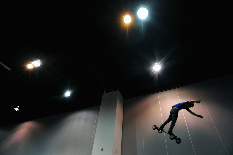 Mountain boarder, Matt Silva, 22, of New Mexico takes part in a mountain board demostration Sunday 11/15/09 during the Colorado Ski and Snowboard Expo at the Denver Convention Center. Photo by Matt McClain