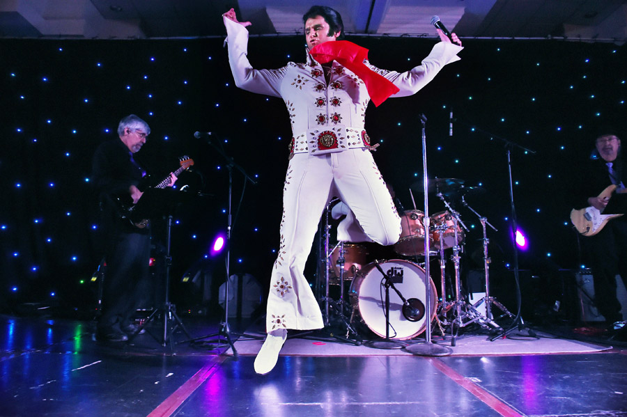 David King, 42, of Greencastle, PA performs at the Ocean City Elvis Festival which took place at the Clarion Resort Fontainebleau Hotel on Friday October 23, 2015 in Ocean City, MD.
