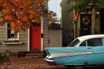 A vintage Chevrolet Bel Air is parked in front of fall foliage and decorations along Prince Street on Saturday October 31, 2015 in Alexandria, VA. (Photo by Matt McClain/ The Washington Post)
