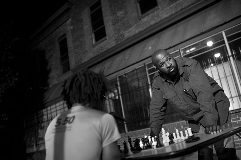 Wood Hughes, right, waits for his opponent, who did not want to be identified, to make his move while they played a game of chess at the corner of V Street NW and 14th Street NW on Wednesday May 16, 2012 in Washington, DC.   (Photo by Matt McClain for The Washington Post)