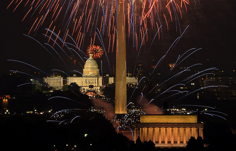 he night sky is illuminated by the annual 4th of July Fireworks on the National Mall as viewed from Top of the Town on Wednesday July 04, 2012 in Arlington, VA.  (Photo by Matt McClain/For The Washington Post)