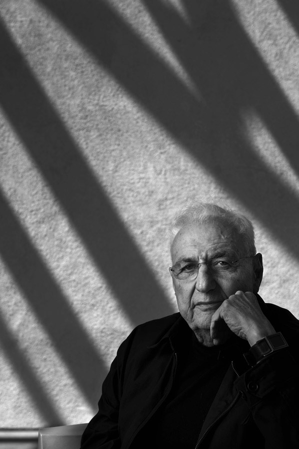 Famed architect, Frank Gehry poses for a portrait outside his Los Angeles, CA studio on Tuesday April 11, 2012.  Gehry has created a design for a memorial to Dwight D. Eisenhower.  The Eisenhower family have spoken out against his design.  (Photo by Matt McClain for The Washington Post)