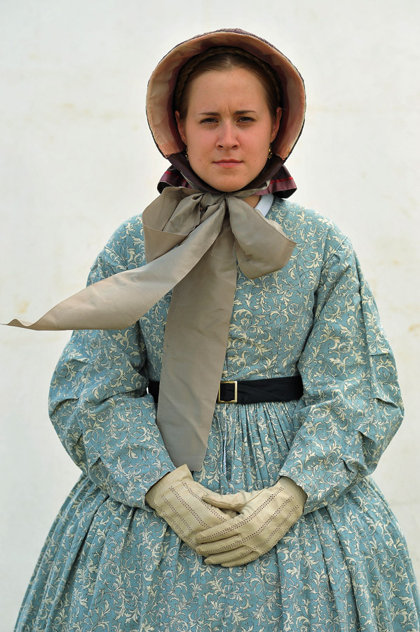 Ailsa Harl, 22, of St. Cloud, MN poses for a portrait at a reenactment encampment on Thursday July 04, 2013 in Gettysburg, PA.  People have flocked to the town to commemorate the 150th anniversary of the Battle of Gettysburg.  The battle is considered a turning point in the Civil War.  (Photo by Matt McClain/ The Washington Post)