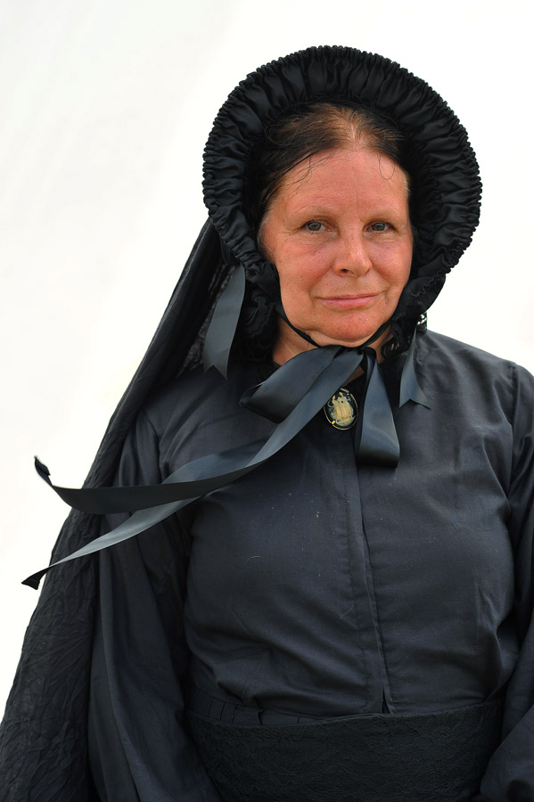 Linda Goodman, 63, of West Middlesex, PA poses for a portrait at a reenactment encampment on Thursday July 04, 2013 in Gettysburg, PA.  People have flocked to the town to commemorate the 150th anniversary of the Battle of Gettysburg.  The battle is considered a turning point in the Civil War.  (Photo by Matt McClain/ The Washington Post)