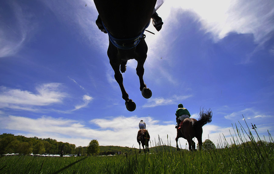 Horses compete in the M. C. Dean Chase during the Virginia Gold Cup Races at Great Meadow on Saturday May 04, 2013 in The Plains, VA.  (Photo by Matt McClain/ The Washington Post)