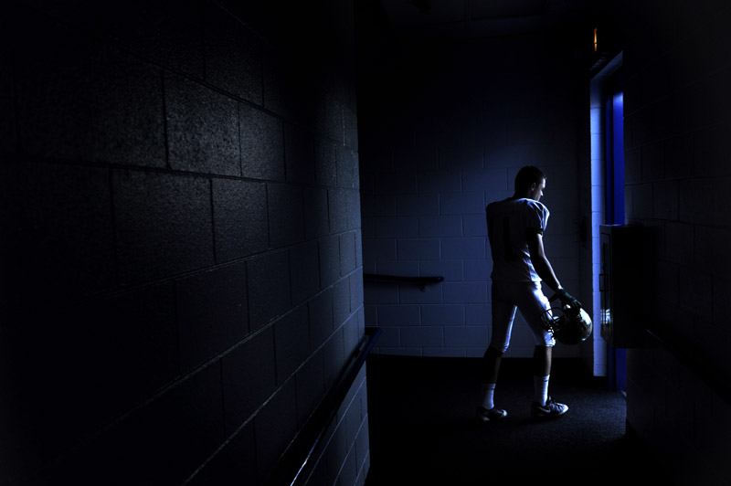 Bear Creek High School's Danny Flanagan leaves the visitor's lockerroom arean prior to a game against Mullen High School at Mullen High in Denver, Colo. on Friday 10/01/10.  Photo by Matt McClain